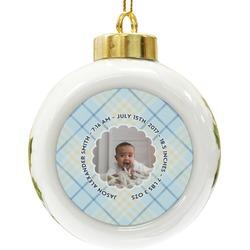 Baby Boy Photo Ceramic Ball Ornament (Personalized)