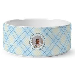 Baby Boy Photo Ceramic Dog Bowl (Personalized)
