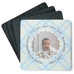 Baby Boy Photo 4 Square Coasters - Rubber Backed (Personalized)