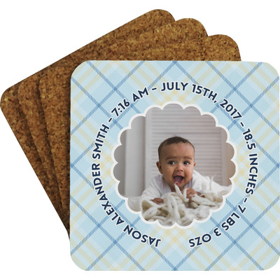 Baby Boy Photo Coaster Set w/ Stand (Personalized)