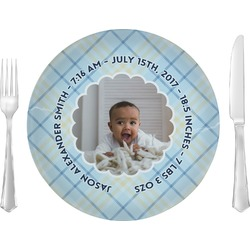 "Baby Boy Photo Glass Lunch / Dinner Plates 10"" - Single or Set (Personalized)"