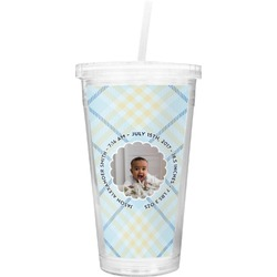 Baby Boy Photo Double Wall Tumbler with Straw (Personalized)