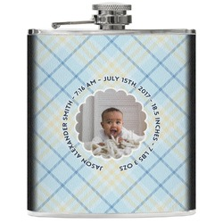 Baby Boy Photo Genuine Leather Flask (Personalized)