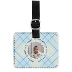 Baby Boy Photo Genuine Leather Rectangular  Luggage Tag (Personalized)