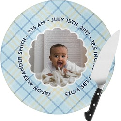 Baby Boy Photo Round Glass Cutting Board (Personalized)