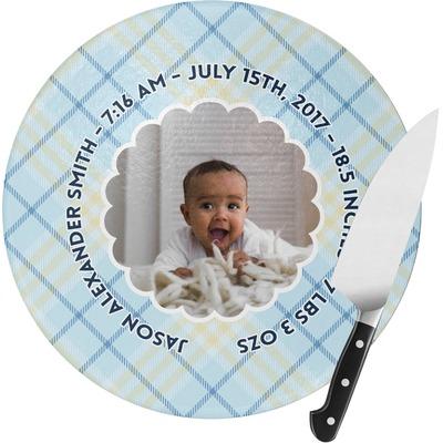 Baby Boy Photo Round Glass Cutting Board (Personalized)