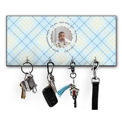 Baby Boy Photo Key Hanger w/ 4 Hooks (Personalized)