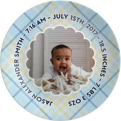 "Baby Boy Photo Melamine Plate - 8"" (Personalized)"