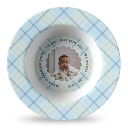 Baby Boy Photo Plastic Bowl - Microwave Safe - Composite Polymer (Personalized)