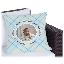 Baby Boy Photo Outdoor Pillow (Personalized)