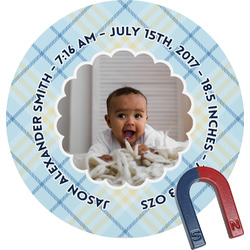 Baby Boy Photo Round Fridge Magnet
