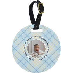 Baby Boy Photo Round Luggage Tag (Personalized)
