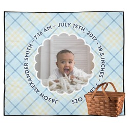 Baby Boy Photo Outdoor Picnic Blanket (Personalized)