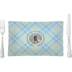 Baby Boy Photo Glass Rectangular Lunch / Dinner Plate - Single or Set (Personalized)
