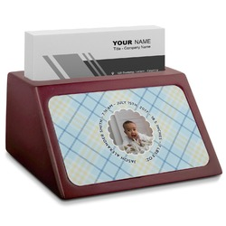 Baby Boy Photo Red Mahogany Business Card Holder (Personalized)