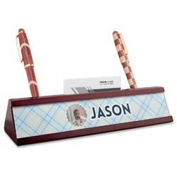 Baby Boy Photo Red Mahogany Nameplate with Business Card Holder (Personalized)