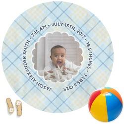 Baby Boy Photo Round Beach Towel (Personalized)