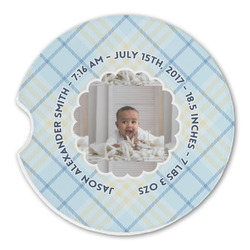 Baby Boy Photo Sandstone Car Coasters (Personalized)
