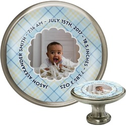 Baby Boy Photo Cabinet Knob (Silver) (Personalized)