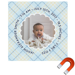 Baby Boy Photo Square Car Magnet (Personalized)