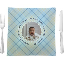 """Baby Boy Photo 9.5"""" Glass Square Lunch / Dinner Plate- Single or Set of 4 (Personalized)"""