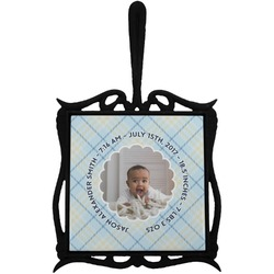 Baby Boy Photo Trivet with Handle (Personalized)