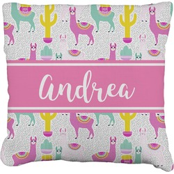"""Llamas Faux-Linen Throw Pillow 16"""" (Personalized)"""