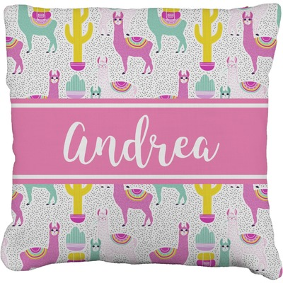 Llamas Faux-Linen Throw Pillow (Personalized)