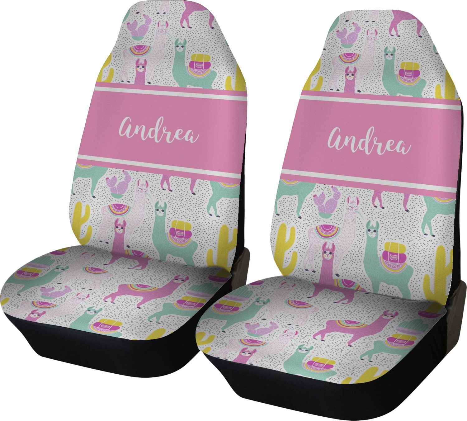 Llamas Car Seat Covers Set Of Two Personalized Youcustomizeit
