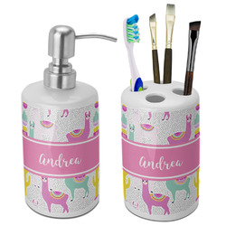 Llamas Bathroom Accessories Set (Ceramic) (Personalized)