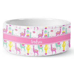 Llamas Ceramic Dog Bowl (Personalized)