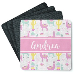 Llamas 4 Square Coasters - Rubber Backed (Personalized)