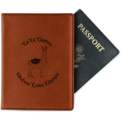 Llamas Leatherette Passport Holder (Personalized)