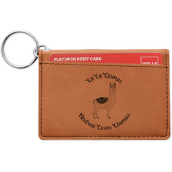 Llamas Leatherette Keychain ID Holder (Personalized)