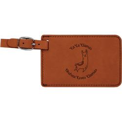 Llamas Leatherette Luggage Tag (Personalized)