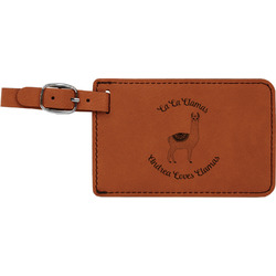 Llamas Leatherette Luggage Tag (Personalized)