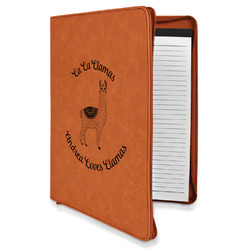 Llamas Leatherette Zipper Portfolio with Notepad (Personalized)