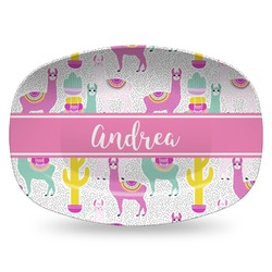 Llamas Plastic Platter - Microwave & Oven Safe Composite Polymer (Personalized)