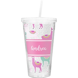 Llamas Double Wall Tumbler with Straw (Personalized)