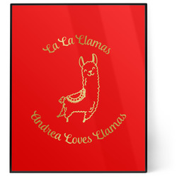Llamas 8x10 Foil Wall Art - Red (Personalized)