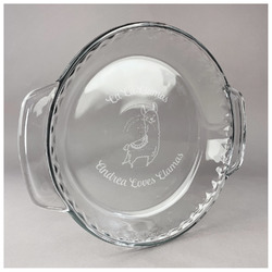 Llamas Glass Pie Dish - 9.5in Round (Personalized)