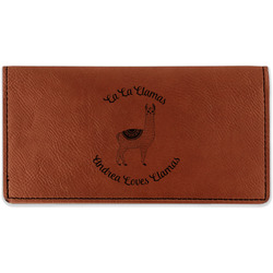 Llamas Leatherette Checkbook Holder - Double Sided (Personalized)