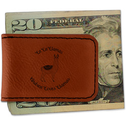 Llamas Leatherette Magnetic Money Clip (Personalized)