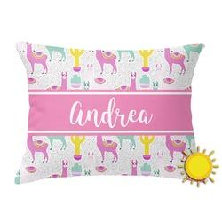 Llamas Outdoor Throw Pillow (Rectangular) (Personalized)