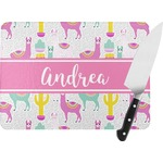 Llamas Rectangular Glass Cutting Board (Personalized)