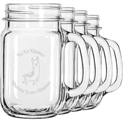 Llamas Mason Jar Mugs (Set of 4) (Personalized)