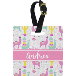 Llamas Square Luggage Tag (Personalized)