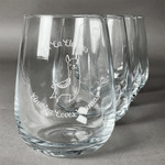 Llamas Stemless Wine Glasses (Set of 4) (Personalized)