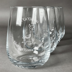 Llamas Wine Glasses (Stemless- Set of 4) (Personalized)