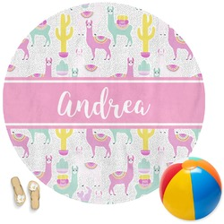 Llamas Round Beach Towel (Personalized)